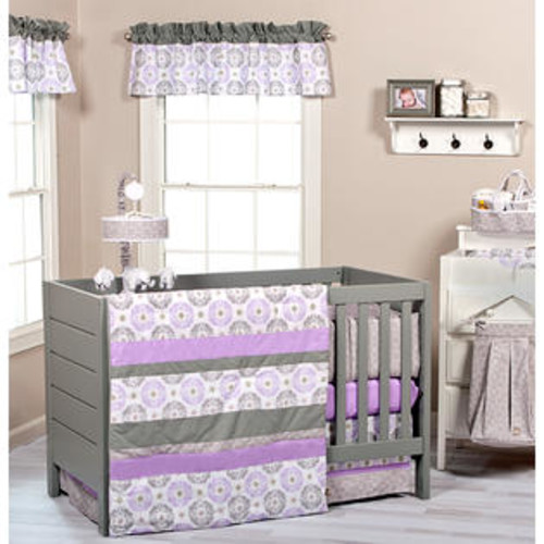 Trendlab Florence 3 Piece Crib Bedding Set - Quilt - Horizontal Patched- Florence Medallions Scatter Print Twill, Circles Gray/White Ove