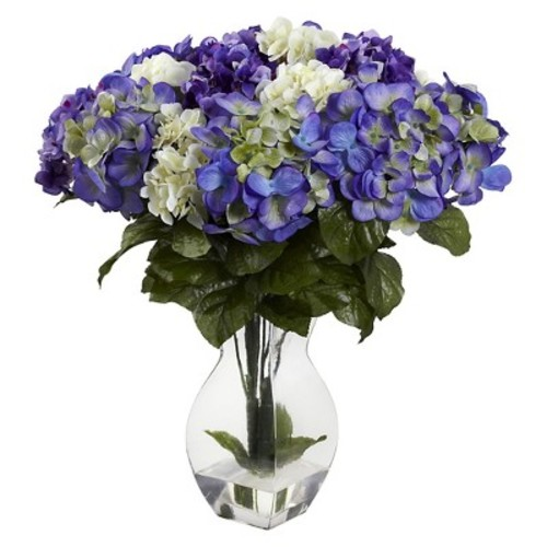 Nearly Natural Mixed Hydrangea with Vase