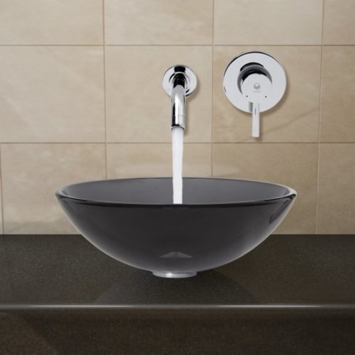 VIGO Sheer Black Glass Vessel Sink and Wall Mount Faucet Set in Chrome