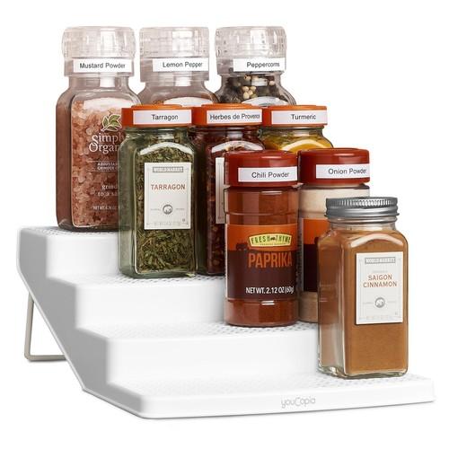 YouCopia SpiceSteps 4-Tier Cabinet Spice Rack Organizer, White, 12-Bottles [12 Bottles]