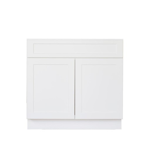 Bremen Ready to Assemble Shaker 36 in. W x 21 in. D x 34.5 in. H Vanity Cabinet with Two Doors Satin White