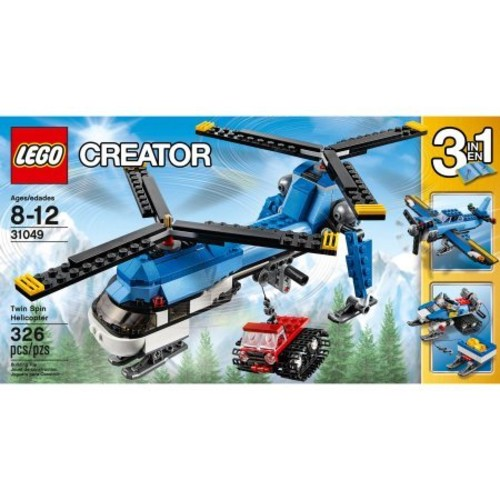 LEGO Creator 31049 3-in1 Twin Spin Helicopter Building Set, Also Includes A Tracked Snowcat Vehicle