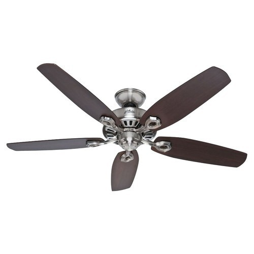 Hunter Builder Elite 52-in Brushed Nickel Indoor Downrod Or Close Mount Ceiling Fan ENERGY STAR