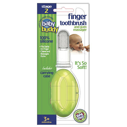 Baby Buddy Silicone Finger Toothbrush with Case - Clear
