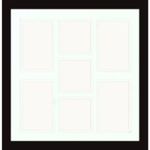PTM Images 7-Opening Holds (4) 4 in. x 6 in. and (3) 4 in. x 4 in. Matted Black Photo Collage Frame (Set of 2)