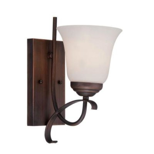 Millennium Lighting 1-Light Rubbed Bronze Sconce with Etched White Glass