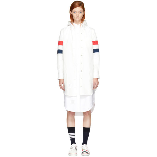 THOM BROWNE White Nylon Tech Four Bar Lightweight Coat