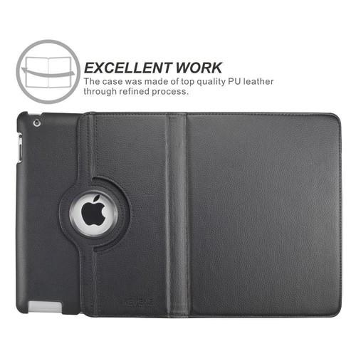 Fullbell Apple iPad 2/3/4 Case - 360 Degree Rotating Stand Smart Case Cover for iPad with Retina Display (iPad 4th Generation), the new iPad 3 & iPad 2 (Automatic Wake/Sleep Feature) - Black