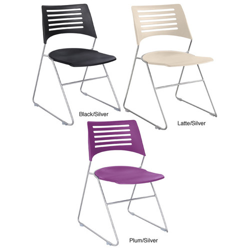 Safco Pique Stack Chair (Set of 4) [option : Black/Silver]
