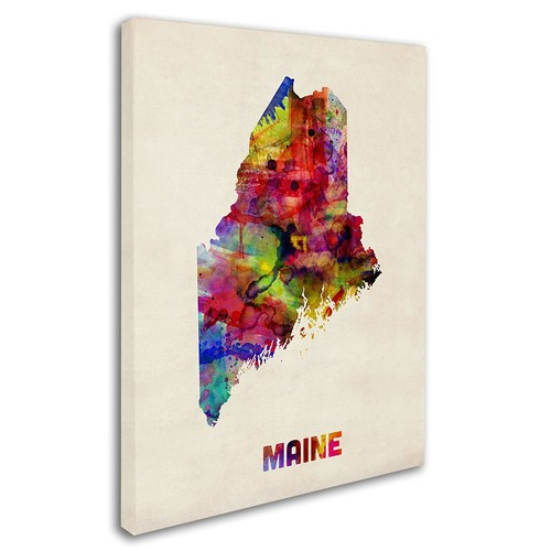 Maine Map by Michael Tompsett, 24 by 32-Inch Canvas Wall Art [24 by 32-Inch]
