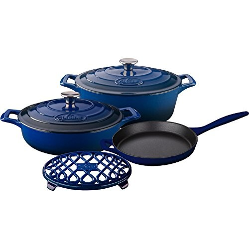 La Cuisine LC 2970 6 Piece Enameled Cast Iron Oval Casserole/Trivet Cookware Set, Ultramarine Blue [Blue]
