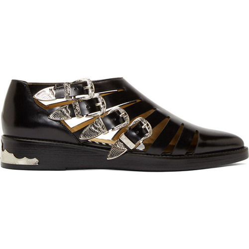 Black Leather Cut-Out Buckled Shoe