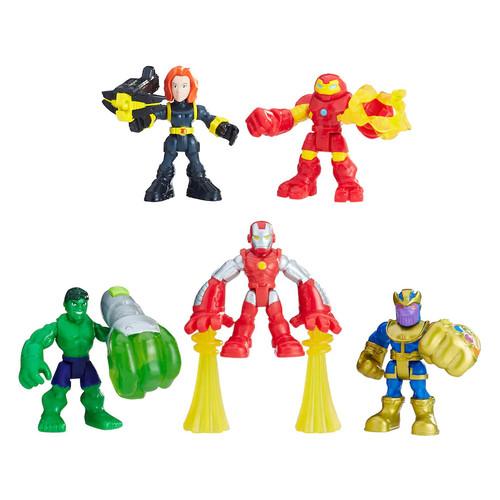 Playskool Heroes Marvel Super Hero Adventures The Power Up Squad: Thanos, Black Widow, Hulkbuster, Iron Man and Hulk Set