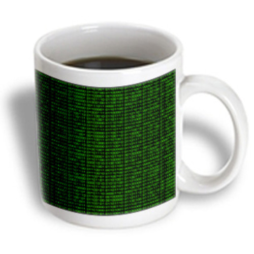 3dRose - Janna Salak Designs Prints and Patterns - Binary Code - Black and Green - 15 oz mug