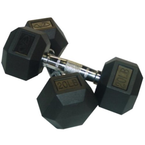Valor Fitness RH Family Rubber Hex Dumbbells [10.0 Pounds, 10-Pound]