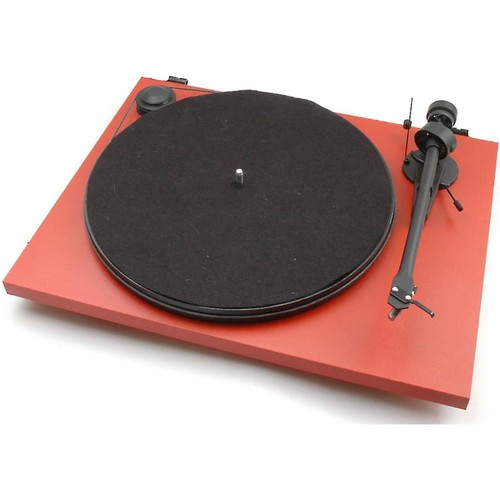 Pro-Ject Essential II Phono USB (Red) Manual belt-drive turntable with pre-mounted cartridge, USB output, and built-in phono preamp