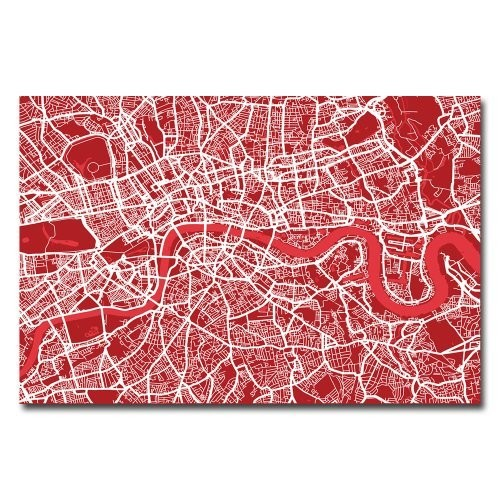 London Street Map IV by Michael Tompsett, 16x24-Inch Canvas Wall Art [16 by 24-Inch]
