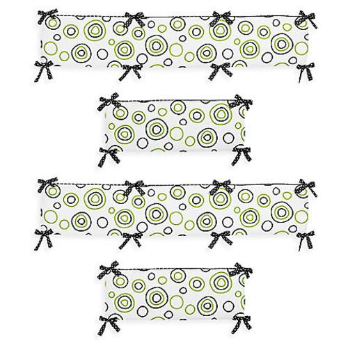 Sweet Jojo Designs Spirodot Crib Bumper in Lime/Black