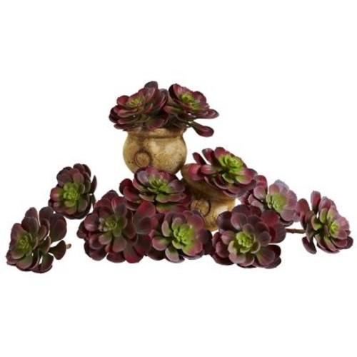 Nearly Natural 6105-BG-S12 Echeveria Succulent Plants 6 x 5 inch, Burgundy