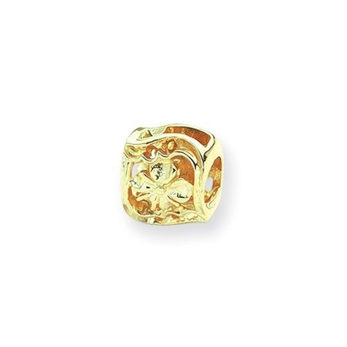 Clover Charm in 14k Yellow Gold for 3mm Bead Bracelets