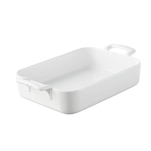Belle Cuisine 10.25 in. x 7.25 in. Rectangular Porcelain Roasting Dish in White