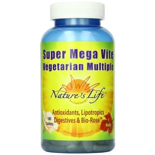 Nature's Life Mega Vite Multi Tablets, Super, Vegetarian, 180 Count