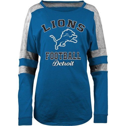 5th & Ocean Women's Detroit Lions Boyfriend Blue Long Sleeve Shirt