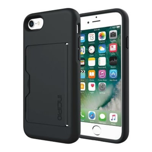 Incipio STOWAWAY Credit Card Case with Integrated Stand for iPhone 7, Black/Black (IPH1477BLK)