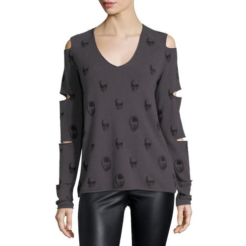 360SWEATER Skull-Print Cashmere Slit-Sleeve V-Neck Sweater