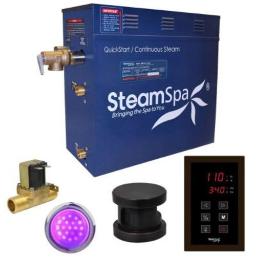 SteamSpa Indulgence 9kW QuickStart Steam Bath Generator Package with Built-In Auto Drain in Polished Oil Rubbed Bronze