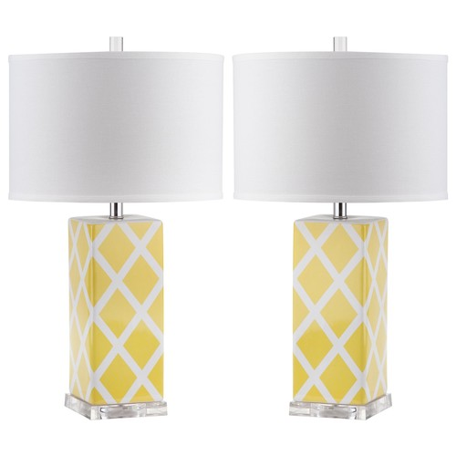 Set of Two Garden Lattice Table Lamps in Yellow design by Safavieh