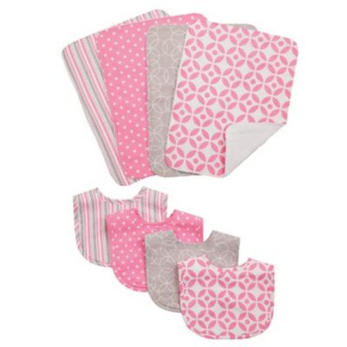 Trend Lab 8-Piece Lilly Bib and Burp Cloth Set in Pink