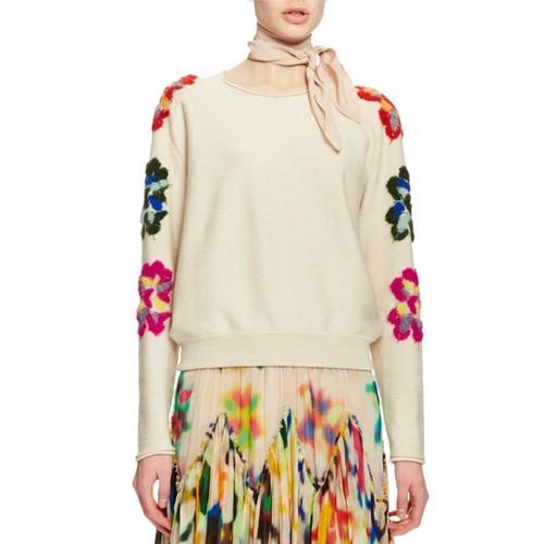 CHLOE Flower-Embellished Crewneck Sweater, Cream