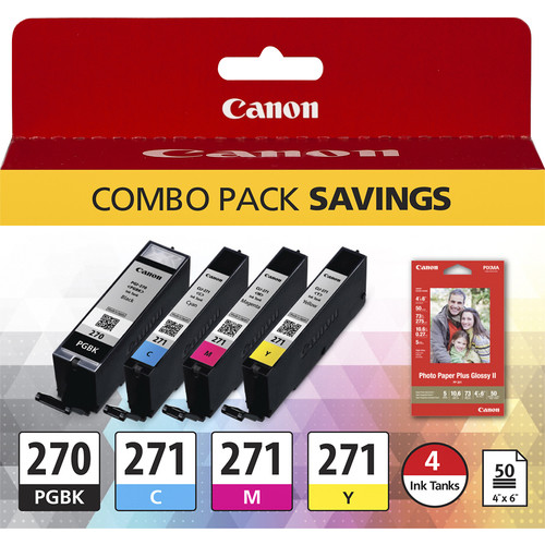 Canon - PGI-270 and CLI-271 Ink Cartridge Combo Pack + Photo Paper - Black/Cyan/Magenta/Yellow