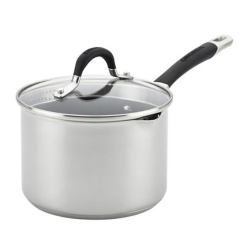 Circulon Momentum Stainless Steel Nonstick 3 qt. Covered Straining Saucepan