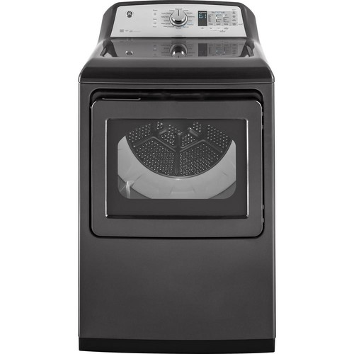 GE 7.4 cu. ft. High Efficiency Smart Gas Dryer with Steam and WiFi in Diamond Gray, ENERGY STAR