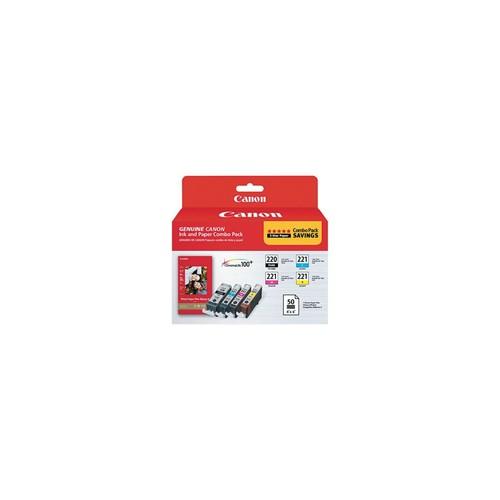 Canon PGI-220 Black/CLI-221 Tri-Color Ink Cartridge and Paper Multi-pack (4 cart per pack)