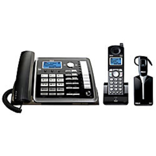 RCA 25270RE3 DECT 6.0 Digital 2-Line Corded/Cordless Expandable Phone Set With Digital Answering System And Wireless Headset