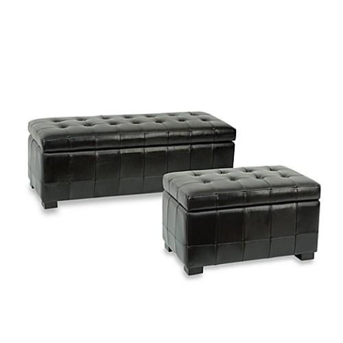 Safavieh Hudson Leather Large Manhattan Storage Bench - Black