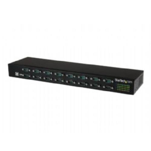 StarTech.com 16 Port USB to Serial Adapter Hub - USB to RS232 Daisy Chain - Serial adapter - USB 2.0 - RS-232 x 16 - black