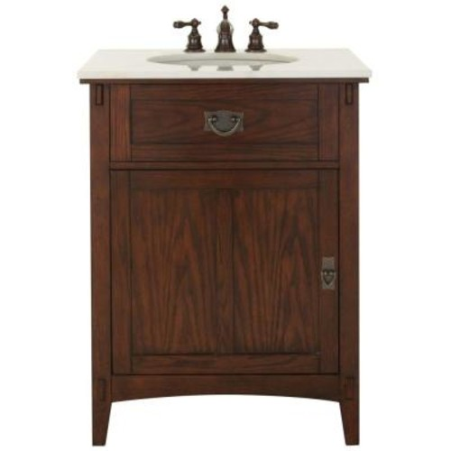 Home Decorators Collection Artisan 26 in. W Vanity in Dark Oak with Natural Marble Vanity Top in White with White Basin