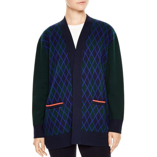 "SANDRO Clara Check-Pattern ""Just Love U"" Wool Cardigan"