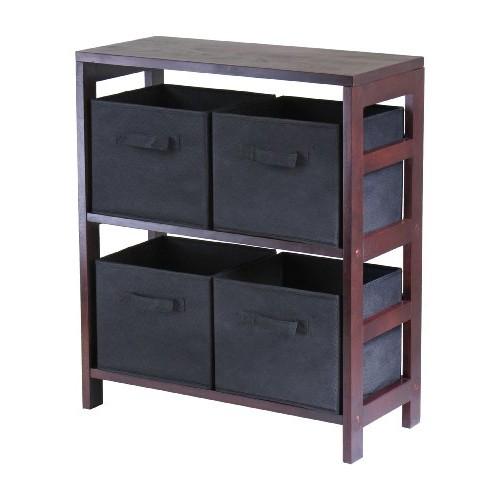 Winsome Wood Capri Wood 2 Section Storage Shelf with 4 Black Fabric Foldable Baskets [Espresso, black basket]