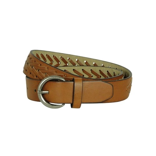 Style & Co. Women's Laced Braid Faux Leather Belt - WHISKEY - L
