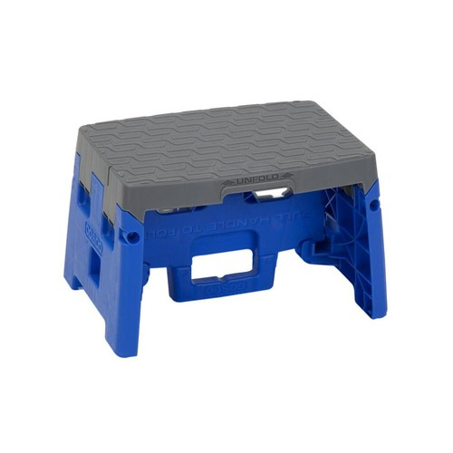 Cosco 1-Step Resin Molded Folding Step Stool Type 1A in Blue and Gray (4- Pack)