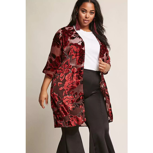 Woven Heart Plus Size Floral Velvet Cardigan