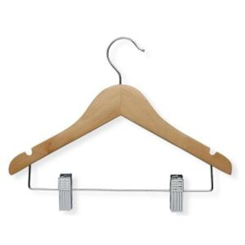 Honey-Can-Do Maple Finish Kid's Basic Hanger with Clips (10-Pack)