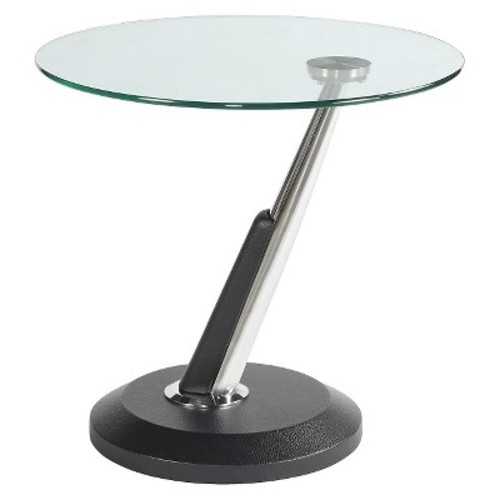 Modesto Metal and Glass Round End Table Synthetic Black - Magnussen Home