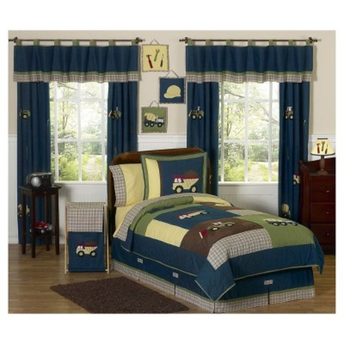 Blue & Green Construction Zone Comforter Set (Twin) - Sweet Jojo Designs