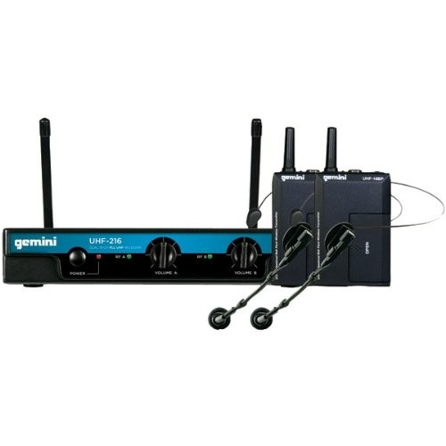 GEMINI UHF-216HL Dual-Channel Wireless Microphone System (Includes 2 Headset Microphones with 2 Belt Pack Transmitters)